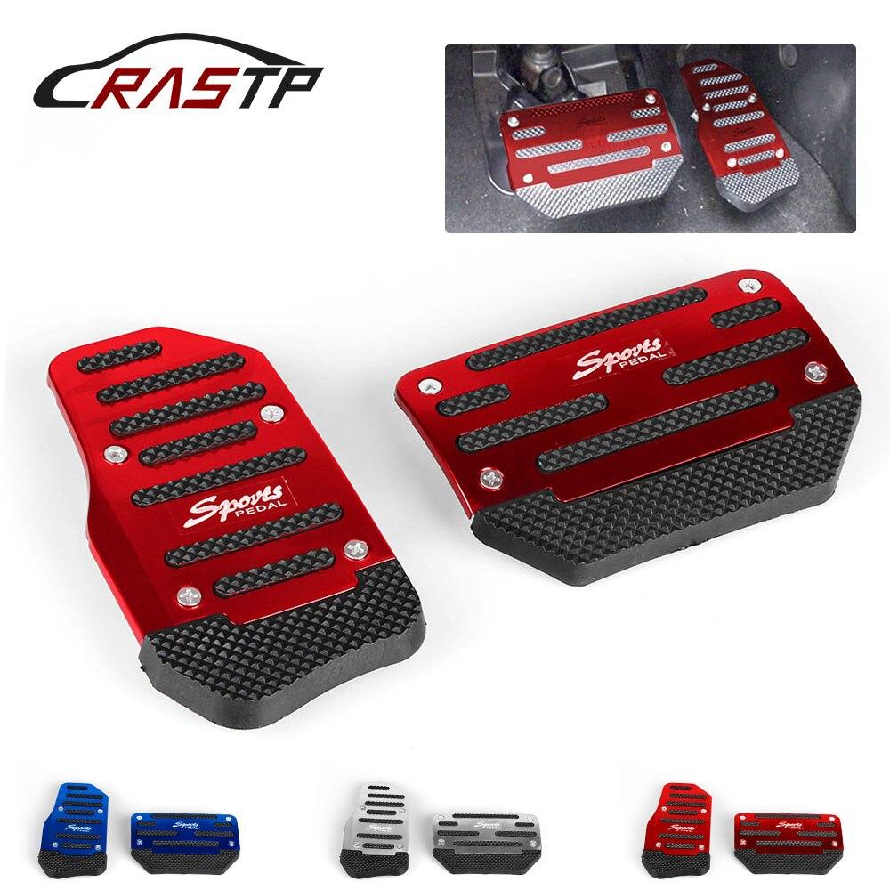 RASTP-Universele Auto Aluminium Automatische Versnelling Rem Gaspedaal Antislip Voetpedaal Pad Cover 2 stks/set Rood/ blauw/Zilver RS-ENL017