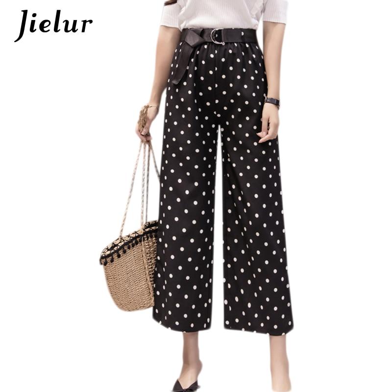 Jielur Summer Plaid Dot Stripe Print Women's   Pants   Chiffon Fashion Boho Lady Trousers Harajuku Belt   Wide     Leg     Pants   S-XL Dropship