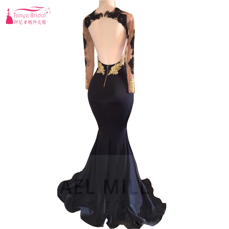 New African Black and Gold Mermaid Prom Dresses 2018 High Neck Sexy Open  Back Long Sleeve Prom Evening Gowns ZP049-in Prom Dresses from Weddings    Events on ... b6da692a22c0