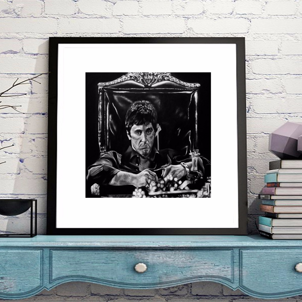 Scarface portrait movie canvas art print painting poster wall scarface portrait movie canvas art print painting poster wall pictures for living room home decoration bedroom decor no frame in painting calligraphy from jeuxipadfo Images
