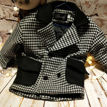Children's clothing boy fashion double-breasted houndstooth wool coat spring 2018new warm windbreaker children thick woolen coat