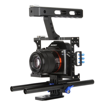 Professional Handle Grip DSLR Rig Video Camera Cage Stabilizer For Sony Alpha A7S A7 A7R A7RII A7SII for Panasonic Lumix GH4