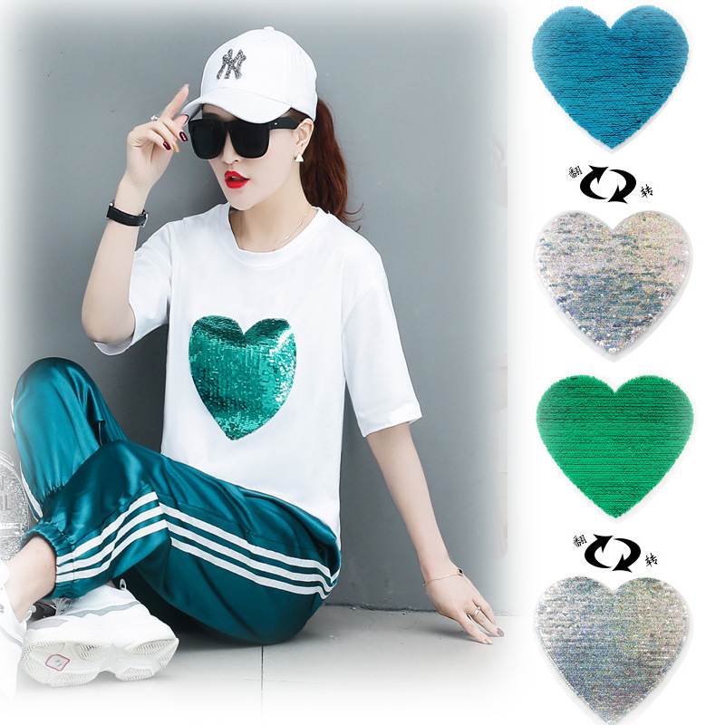 Large Cloth Sticker Green Love Smiling Face Flip Sequins Patch Sticker Decorative Sticker T-shirt Bug Repair Accessories
