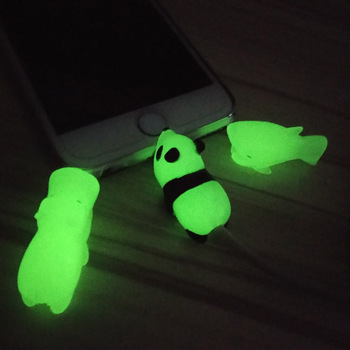 Glow In Dark Toy Kawaii Animal Cable Bite Protector for IPhone Winder Phone Cable Chompers Prank Pvc Animal Doll Model Funny protectores de cargador iphone