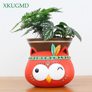 Image 4 - Creative Indoor Wall Mounted Hanging Animal Pots Planter Succulents Elephant Owl Fox Deer Bear Pendant Vase Home Wall Decoration