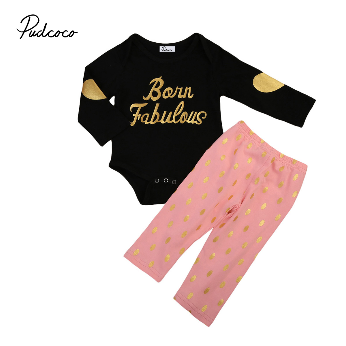 0-12M Newborn Baby Girls Clothes Jumpsuit Romper +Dot Pink Pants Outfits Letter Print Pattern Long Sleeve Cotton Winter Clothes
