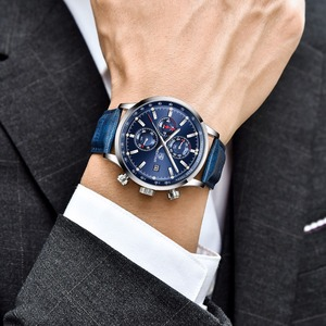 Image 5 - BENYAR montre à Quartz pour hommes, nouvelle marque militaire de luxe, chronographe, montre daffaires, horloge en cuir pour hommes