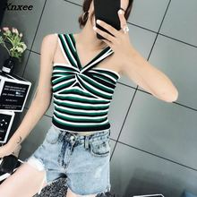 Topshop INS 2018 fashion women ladies sexy Striped knit pullover cropped top pull striped sweater Xnxee