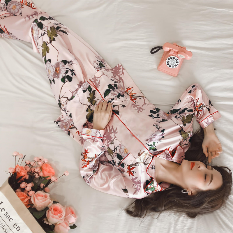 QWEEK Pijama Women Silk   Pajama     Sets   Flower Print Women Pyjama Satin Women Sleepwear Casual Long Sleeve Home Wear Sleep Lounge