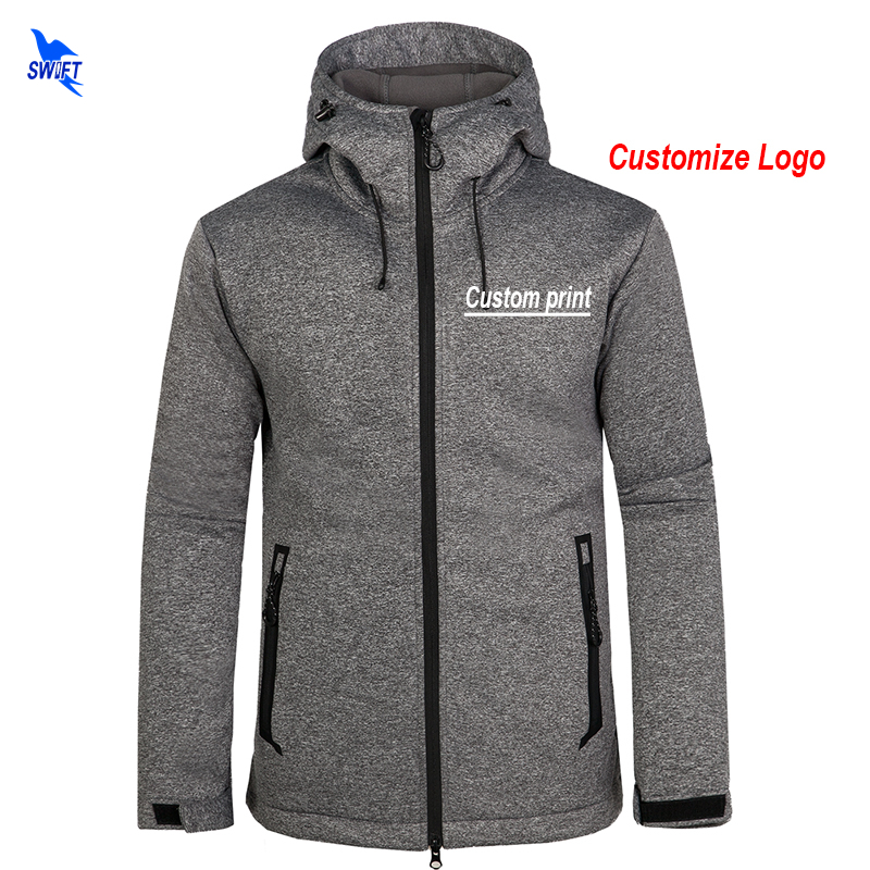 Custom Logo Mens Softshell Jackets Waterproof Fleece Thermal Hooded Coats Outdoor Sports Clothing Camping Hiking Skiing
