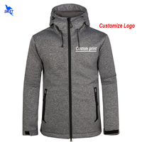 Custom Logo Mens Softshell Jackets Waterproof Fleece Thermal Hooded Coats Outdoor Sports Clothing Camping Hiking Skiing Hoodies