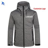 Custom Logo Mens Softshell Jackets Waterproof Fleece Thermal Hooded Coats Outdoor Sports Clothing Camping Hiking Skiing Hoodies