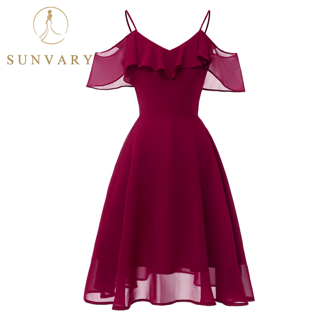 66aa8424485 Sunvary Spaghetti Strap Homecoming Dresses Knee Length A-line Chiffon Wine  Red Party Gown Vintage 8th Grade Graduation Dress