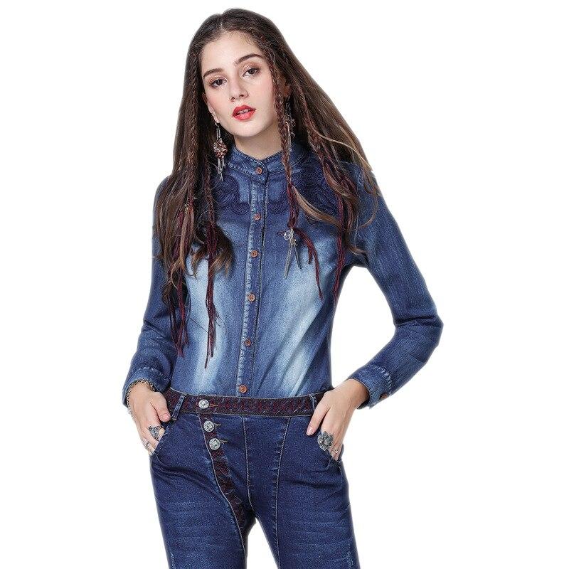 Chemise Plein À Angleterre Bleu 2019 Femelle Printemps Col Mode Broderie Femmes Mince Manches Montant Style De Blanchis Cru Fleurs Chemises rHWnnPYt1