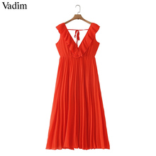 Vadim 女性 orange マキシドレスプリーツフリルノースリーブ背中の女性のカジュアルな甘いドレスシックな蝶ネクタイ a ライン vestidos QB506