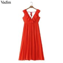 Vadim נשים orange מקסי שמלת קפלים קפלי שרוולים ללא משענת נקבה מזדמן מתוק שמלות שיק קשת עניבת קו vestidos QB506
