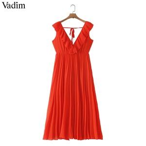 Image 1 - Vadim women orange maxi dress pleated ruffles sleeveless backless female casual sweet dresses chic bow tie A line vestidos QB506