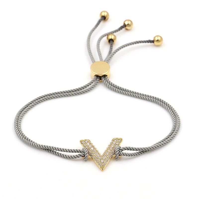 2017 Nouvelle Arrivée Corde Chaîne Cubique Zircone Lettre V Conception Réglable Bracelets pour Femmes ou Filles en 12 couleurs assorties