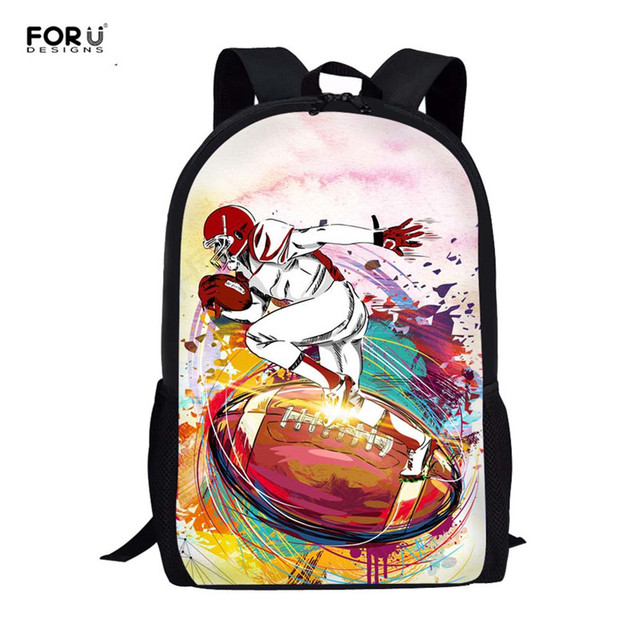3654c942b3d0 FORUDESIGNS American Foot Ball 3D Print School Bags Teenagers Boys School  Backpack Set Students Shoulder Bookbags
