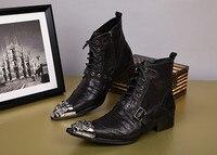 Осенне зимняя мужская обувь; bota masculina; черные военные ботинки из натуральной кожи на шнуровке; ковбойские сапоги мужские с острым носком