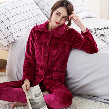 Winter Pyjamas Women Polyester Full Trousers Lady Two Piece   Pajama     Set   Thicken Flannel Female Home Clothing Women's   Pajamas     Sets