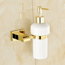 купить Liquid Soap Dispensers Brass Luxury Gold Color Soap Dispenser Wall Mounted With Frosted Glass Container bottle Bathroom Products по цене 2415.46 рублей
