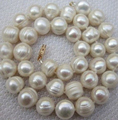 Trendy white south sea freshwater round pearl natural  11-12mm beads diy woman necklace 18 inch BV337