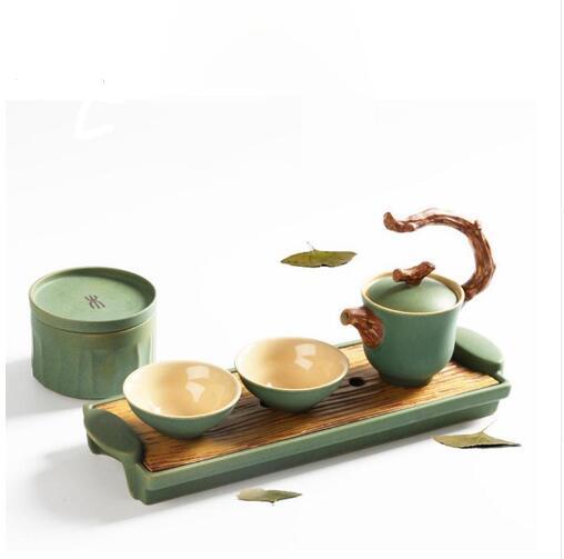Tasse rapide Vintage chinois traditionnel cinq éléments céramique poterie Kung Fu voyage thé ensemble 1 théière 2 tasses avec plateau boîtes de thé
