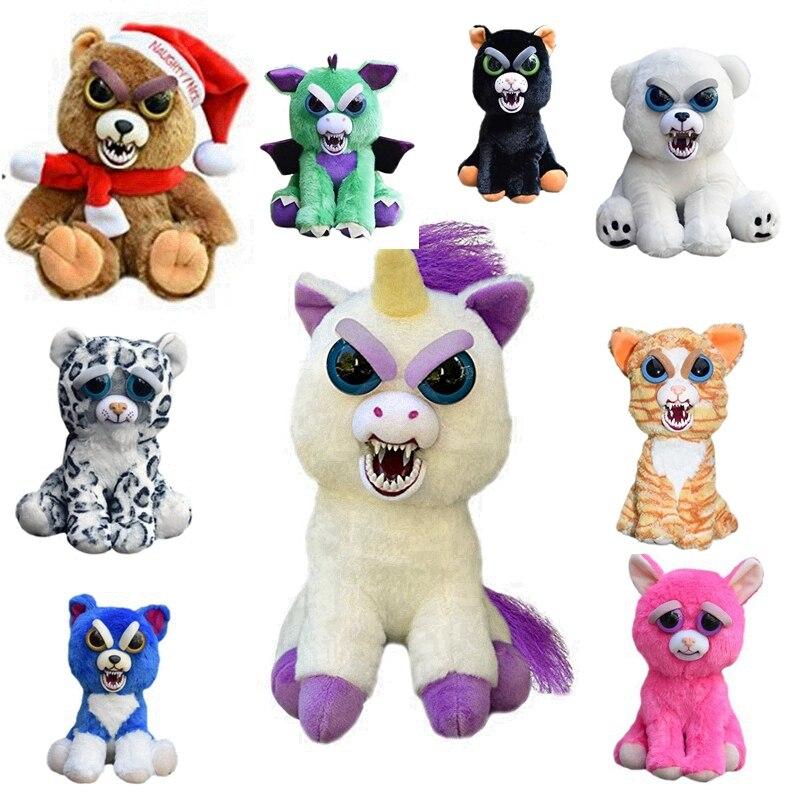 12-20cm Feisty Pets Change Face Animal Unicorn Bear Dog Panda Stuffed&Animals Plush Toy Dolls dog animal series many chew toy