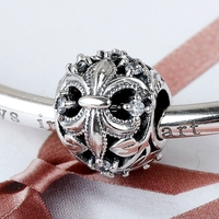 2016 Jewelry 925 Sterling Silver Bracelets Openwork Fleur De Lis Charm With Zircon As Gift For
