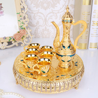 Metal Coffee Set Wine Set European Tea Set Retro Creative Hotel/ Home Room Table Decoration 1 set= 1 plate+ 1 pot +6 cups