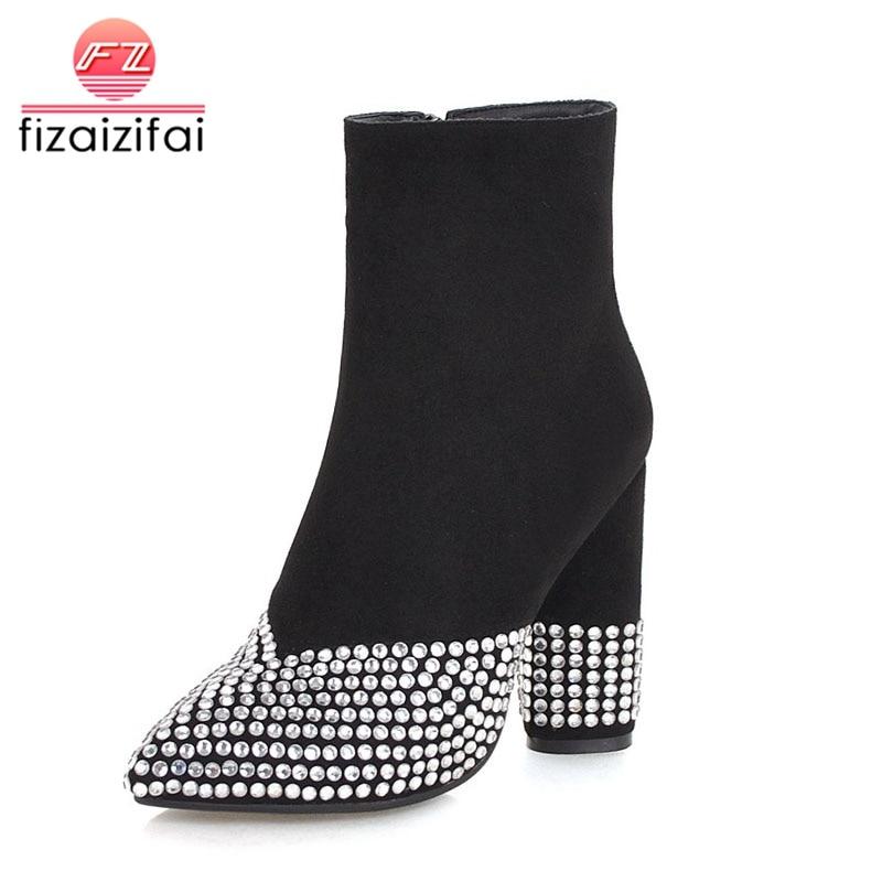 5e5e49e5773d6c Chaussures Femmes Femme Sexy Mode Bottes De Talons 33 Hauts Fourrure  Cristal Noir Taille 46 Cheville ...