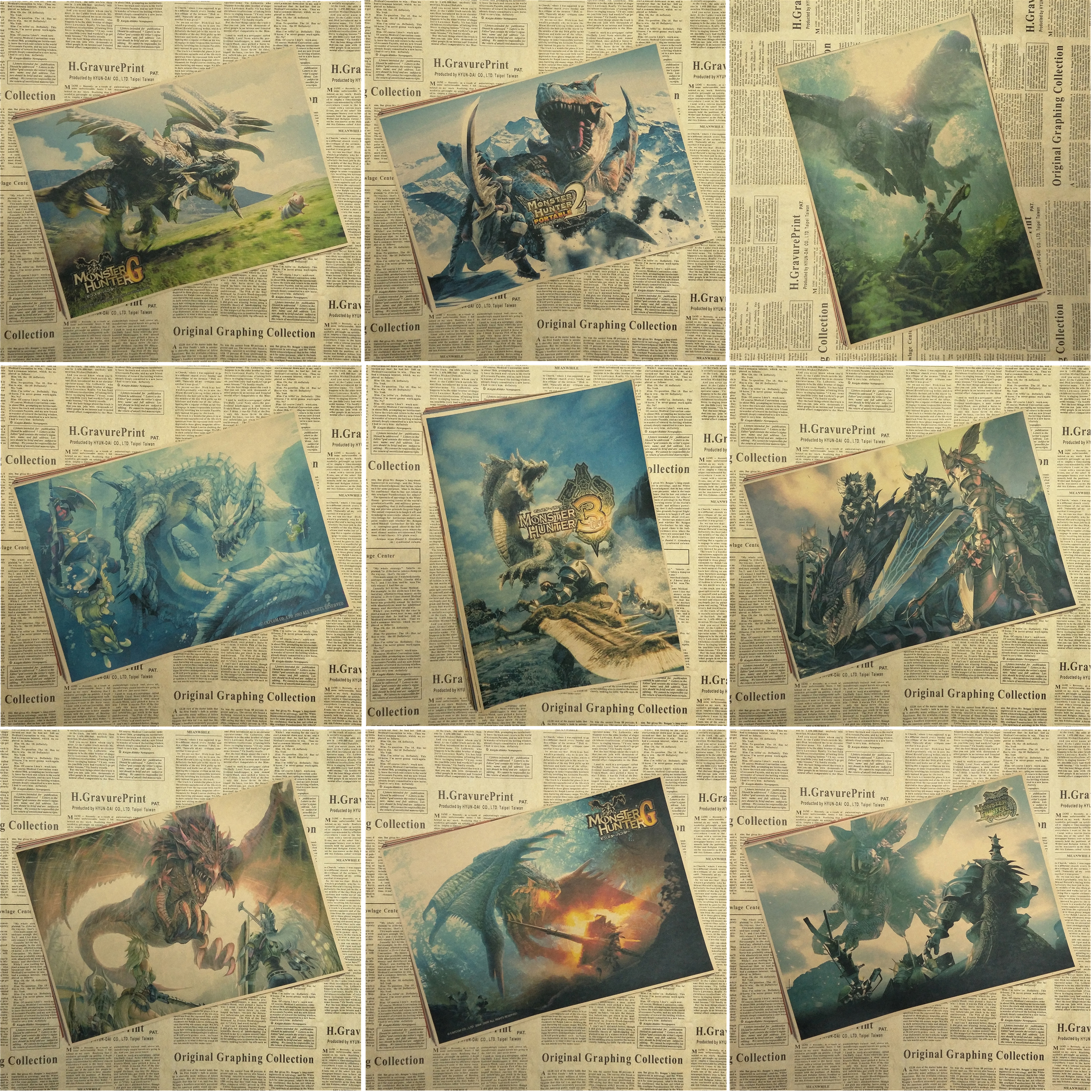 Monster Hunter Anime Game Poster Home Furnishing decoration Kraft Game Poster Drawing core Wall stickers