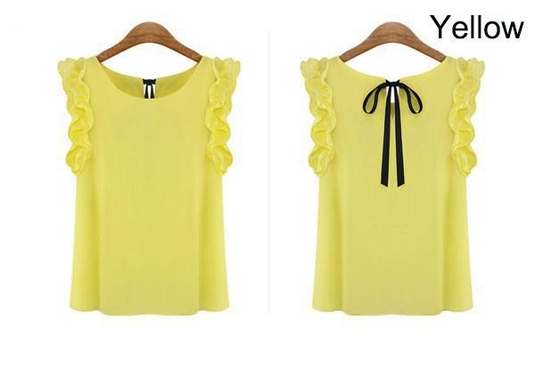 Blusas Femininas Summer Women Casual OL Chiffon Blouses Solid Sleeveless Shirts Women Tops Cheap Clothes Plus Size