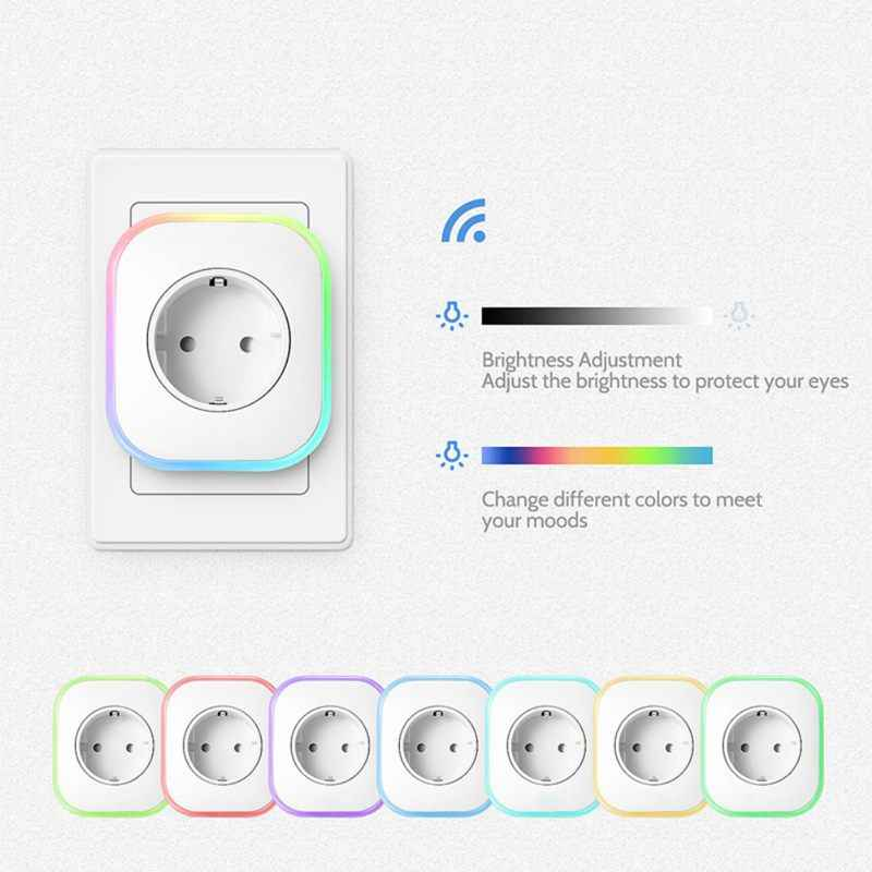 New Smart Plug Rgb Led Light Wifi Outlet Socket Eu Remote Control Plug For Google Home Mini Alexa Smart Timing Switch Work