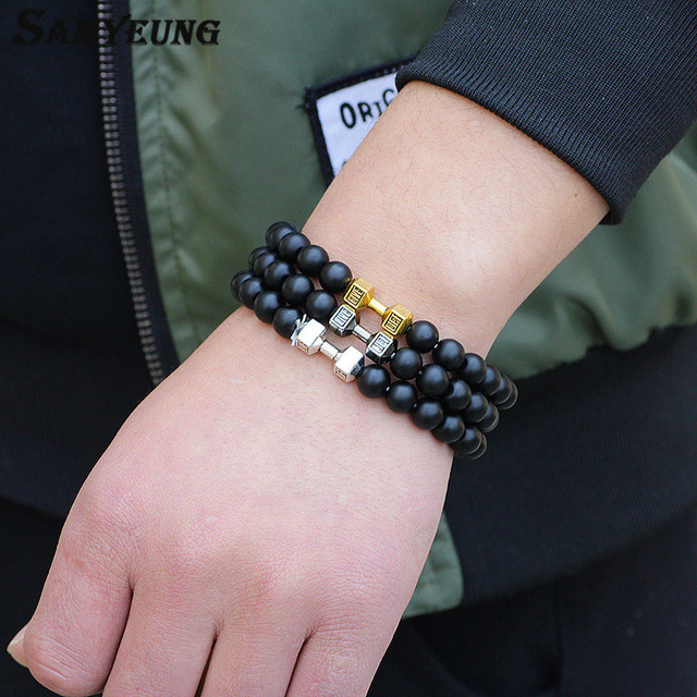 Samyeung NEW! Natural Stone 6mm Gold Dumbbell Bracelets for Men Beads Bangels Bracelet Homme Braclet Woman Braslet Bijoux Femme 2