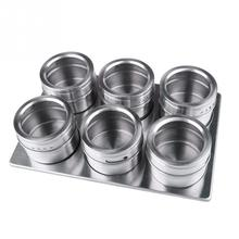 6 Pcs Kitchen Stainless Steel Magnetic Spice Jars With Stainless Trestle Rack Condiments Storage Box