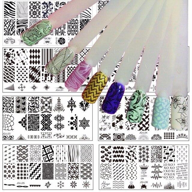 LCJ JQ-L série 120*60 MM taille timbre estampage Image Konad plaque impression Nail Art modèle bricolage pour ongles estampage plaques