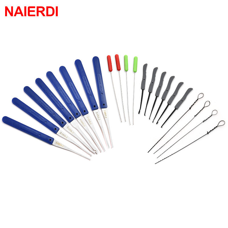 12PCS NAIERDI Locksmith Hand Tools Supplies Lock Pick Set Broken Key Auto Extractor Removal Hooks Stainless Steel Tool Hardware