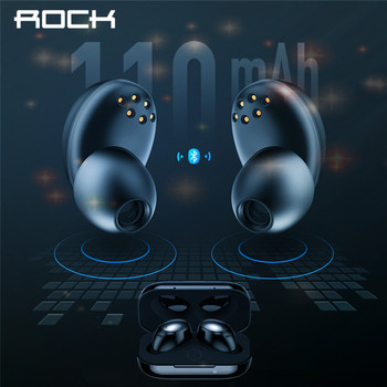 Rock New Mini TWS True Wireless Stereo Bluetooth Earphone with Mic Universal Wireless Handsfree Earbuds with Charger Battery Box rockspace eb30