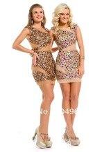2014 neue Nude Gold Jewel Mit Bunten Kristall Mantel Kurze Heimkehr Kleider Sexy Formale Bandage-kleid N168