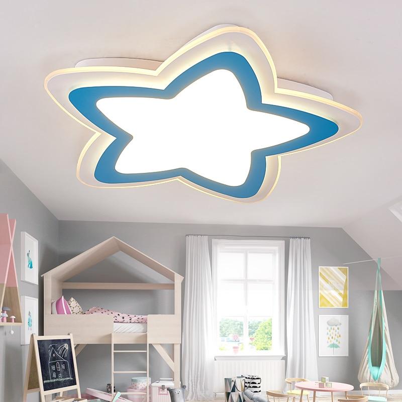 US $106.6 18% OFF|Kinder lampe led decke lampen von moderne  minimalistischen stern kinder schlafzimmer lampe kreative warme männliche  mädchen decke ...