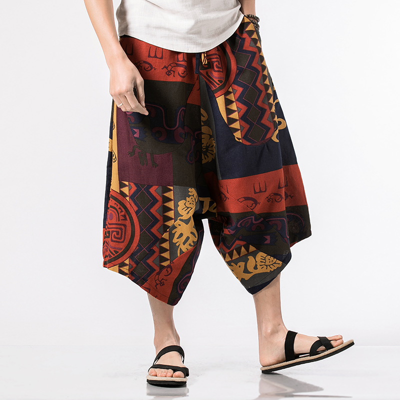 100 % Cotto Spring Summer New Men's Fashion Boutique Print Harlan Low-grade Trousers Male Calf-Length Pants Men's Casual Pants