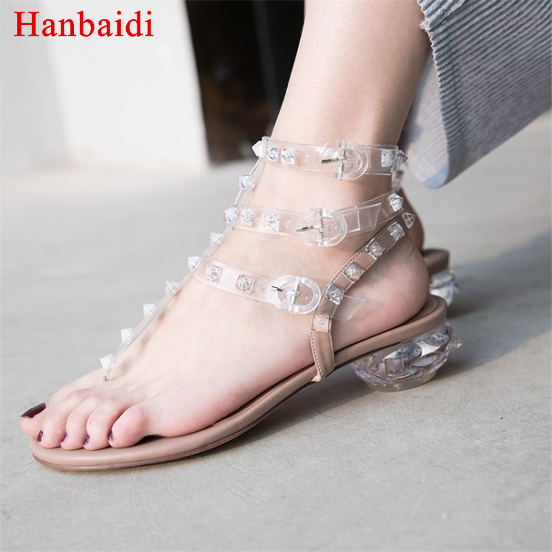 Hanbaidi Clear PVC Jelly Sandals Crystal flip flops middle Heels Women Transparent Sandals rivets studded 2018 newest Slippers