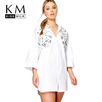 Kisleche camisa de talla grande con cuello doblado Foral bordado camisa de manga de nueve cuartos liso básico camisa Casual de talla grande