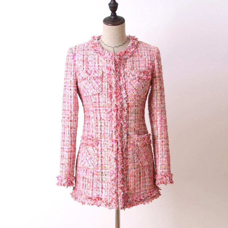 Pink sequin tweed jacket in the long section 2019 autumn winter Women s coat jacket Haute