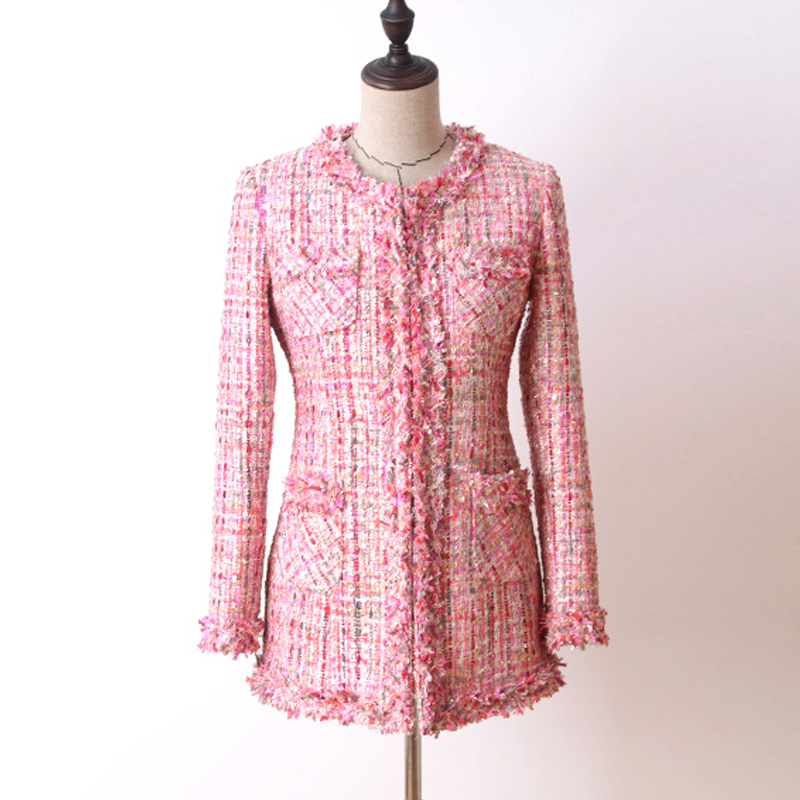 Pink Sequin Tweed Jacket In The Long Section 2020 Autumn/winter Women's Coat Jacket Haute Couture Ladies Coat