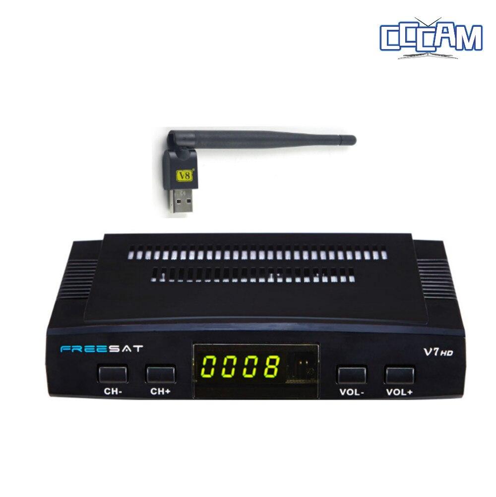 1 Anno CCCAM Cline Europa in DVB-S2 Freesat V7 Ricevitore TV Satellitare Set Top Box DVB-S2 powervu, Cccam, youporn con USB wifi