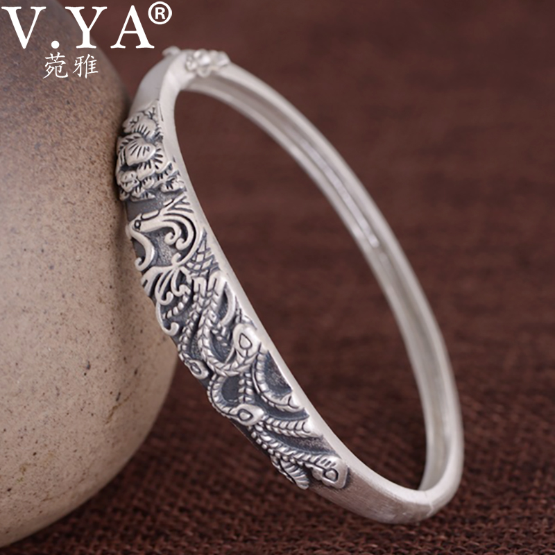V.YA 999 Silver Bangle Real Silver Phonix Bangle Silver Lady Thai Silver Vintage Bangle Good luck Bracelet