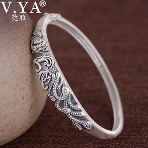 Image 1 - V.YA brazalete de plata de ley 999, brazalete de plata de imitación, Estilo Vintage tailandés de plata, buena suerte